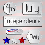 Festive vector set with different holiday symbols isolated. 4th July - Independence day of United States of America - festive vector set with different holiday Royalty Free Stock Images