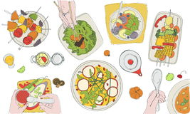 Festive vegetarian tableful, laid table, holidays hand drawn colorful illustration, top view Stock Images