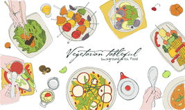 Festive vegetarian tableful, laid table, holidays hand drawn colorful illustration, top view. Background with place for. Festive vegetarian tableful, laid table Royalty Free Stock Photos