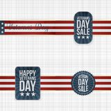 Festive Veterans Day Badges with Ribbons. On textile Background. Vector Illustration Stock Image