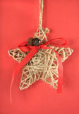 Festive vintage Christmas natural rope star decoration Royalty Free Stock Photos