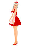Festive waiter. Woman red dress and white apron, profession festive waiter Stock Photo