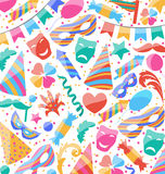 Festive wallpaper with carnival and party colorful icons and obj Royalty Free Stock Photos