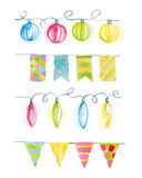 Festive watercolor garlands of flags and lights Stock Images