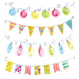 Festive watercolor garlands of flags and lights  Stock Photography