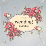 Festive wedding background for your text with poppies and balloons in form of hearts Stock Images