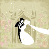 Festive wedding couple. Wedding invitation illustration with affectionate groom and bride in a festive surrounding Stock Images