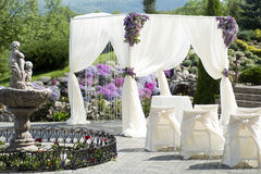 Festive wedding decoration with fountain Stock Images