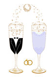 Festive wedding glasses with decor  illustration. Festive wedding glasses with decor  and scalable  abstract Royalty Free Stock Images