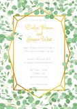 Festive wedding invitation card with evergreen eucalyptus green. Leaves and branches in a gold geometric frame isolated on white background. Vertical Royalty Free Stock Image
