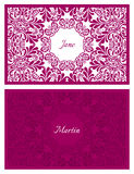 Festive wedding name card with floral ornament. Pattern Stock Image