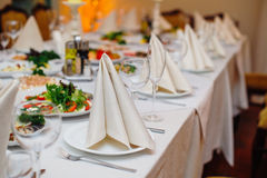 Festive wedding table for a banquet in a restaurant Royalty Free Stock Images
