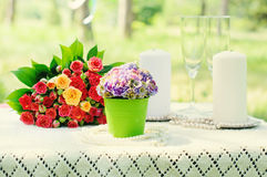 Festive wedding table with flowers and candles Royalty Free Stock Photos
