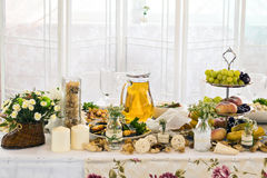 Festive wedding table Stock Photos