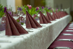 Festive wedding  table in red Royalty Free Stock Images