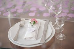 Festive wedding table setting.Table decoration on the wedding day stock images