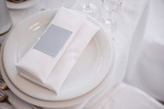 Festive wedding table setting.Table decoration on the wedding day stock photo