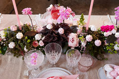 Festive wedding table setting Stock Image