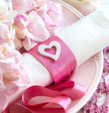 Festive wedding table setting in pink Stock Image