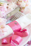 Festive wedding table setting in pink Stock Photo