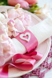 Festive wedding table setting in pink Royalty Free Stock Photo