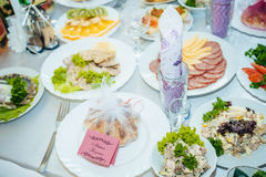 Festive well-laid Table with food and drink Stock Images