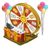 Festive wheel of fortune with colorful balloons Royalty Free Stock Photos