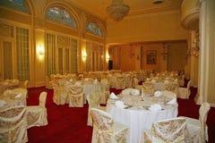 Festive white Banquet hall of the restaurant Astoria, Saint-Petersburg, Europe. Stock Images