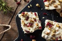 Festive White Chocolate Holiday Bark stock photo
