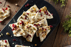 Festive White Chocolate Holiday Bark royalty free stock image