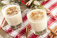 Festive White EggNog. With Cinnamon for the Holidays Stock Image