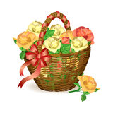 Festive wicker basket with roses Royalty Free Stock Images