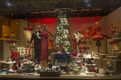 Festive window dressing in department store for Christmas. Stock Photos