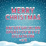 Festive Winter Background with Alphabet. Snow on the Letters, Winter Font, Holiday Background with Alphabet and Numbers, Snowfall and Snowdrifts, Vector Royalty Free Stock Photos