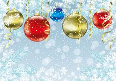 Festive winter background with balls. Festive winter background with balls and snowflakes Royalty Free Stock Photos