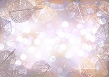 Festive winter background of bokeh lights with frame of hoarfrost leaves Royalty Free Illustration