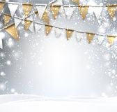 Festive winter background with flags. Gray festive winter background with golden flags. Vector illustration Stock Photos
