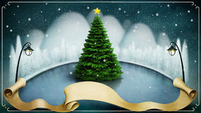 Festive winter background. Background or illustration with winter night landscape and tree. Computer graphics Stock Photography