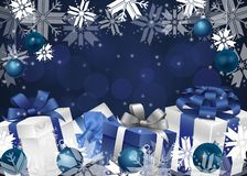Festive winter background with New Year`s attributes and bokeh effect royalty free illustration