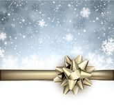 Festive winter background with golden bow. Festive winter background with snowflakes and golden bow. Vector illustration Stock Image