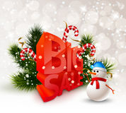Festive Winter Big Sale Poster. With snowman fir branches candies on light background vector illustration Stock Photography
