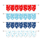 Festive winter bunting flags with snowflakes in traditional colors. For your decoration Stock Image