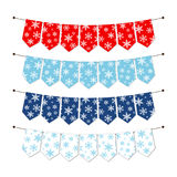 Festive winter bunting flags with snowflakes in traditional colors. For your decoration Stock Images