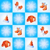 Festive winter clothes. Vector illustration of seamless with snowflakes and festive winter clothes Stock Image