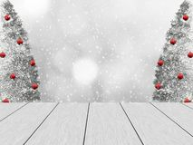 Christmas winter design with white wood planks. Festive winter design with white wood planks, in the background blurred bokeh, snowy pine and snowfall. The royalty free illustration