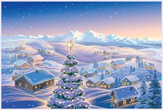 Festive winter landscape with Christmas tree vector illustration