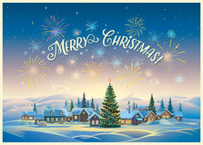 Festive winter landscape with village. Festive winter landscape with village and Christmas trees, fireworks and holiday inscription Royalty Free Stock Photos