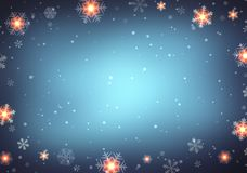 Festive winter night background. Xmas empty background. Snowflakes texture. Background dark blue blurred. New Year abstract textur Royalty Free Stock Image
