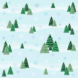 Festive winter pattern with snow-covered trees and snowflakes Design for greeting cards, Christmas / New Year background Stock Images