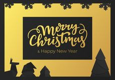 Festive winter postcard with Christmas decorations. Happy New Year greeting card with golden foil and black paper background. Festive winter postcard with stock illustration